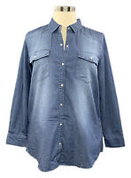 G.I.L.I. size L medium wash blue distressed western boyfriend snap denim shirt