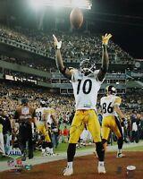 Santonio Holmes Autographed Steelers 16x20 Ball Toss PF Photo- JSA Authenticated
