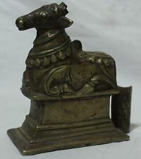 Indian Old Antique Unique Brass Carved Hand Work Worship Shiva Nandi Statue 01