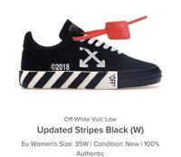 OFF-WHITE STRIPED VULCANIZED LOW TOP SNEAKERS BLACK VULC VIRGIL ABLOH SIZE35.