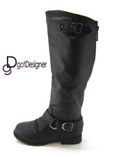 Women Fashion Boots Shoe Riding Military Combat Mid Calf Equestrian NEW All Size