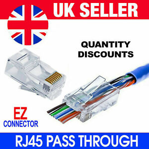 EZ RJ45 Crimp End Pass Through Connectors Network Lan Cable CAT5e CAT6