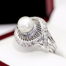 Antique Handmade Pearl and .92cts Diamond Dinner or Cocktail ring, MAD MEN ERA