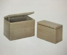 TWO NATURAL RUSH STRAW NESTING STORAGE TRUNKS RECTANGLE WOOD FRAME COTTON LINING