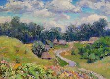 Summer Natural Landscape - Original Vintage Soviet Oil Painting by I.Tanasyuk