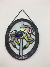 Carousel Horse Stained Glass Oval Window Decor Purple C3