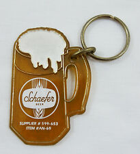 Vintage 1982 Schaefer Beer White Keychain Key Chain  Key Fob