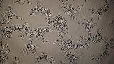 NAVY BLUE FLORAL STITCHED  IVORY COTTON UPHOLSTERY FABRIC