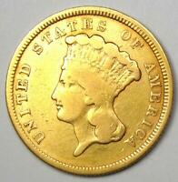 1854 Indian Three Dollar Gold Coin ($3) - Fine / VF Details - Rare Type Coin!