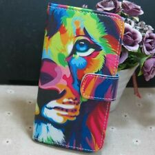 1x Colorful Lion Wallet Card Slots Holder Flip TPU Case Cover For Smart Phone