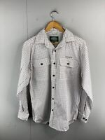 Jackeroo Men's Long Sleeve Button Up Shirt Size S White Check