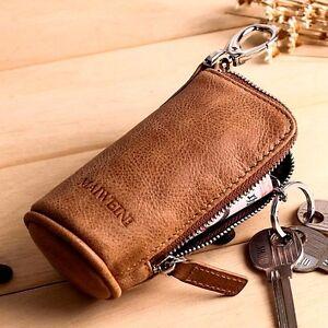 MAIWEINI Unisex Genuine Leather Car Key Case Zipper Wallet Card Holder Key Bag