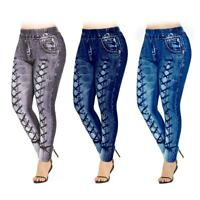Women Lady Plus Size High Waisted 3D Jean Printed Leggings Skinny Trousers Pants