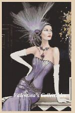 Cross Stitch Chart ART DECO LADY in Purple Dress -  No.1-151 (Large Print)