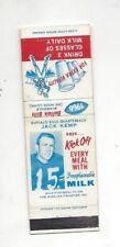 1966 Milk For Health Buffalo Bills Schedule -Jack Kemp (matchbook) (see scan)