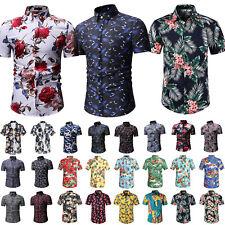 Hawaiian Shirts Summer Beach Casual Men Button Dress T Shirt Floral Tee Top