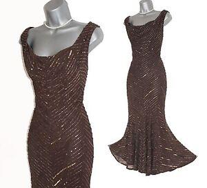 Karen Millen UK 12 Brown Embellished Cowl Neckline Fishtail Midi Party Dress  40