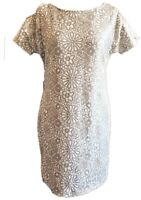 Aquamar Dress White Pale Gold Sequin Shift Cold Shoulder Floral Party M 10 12