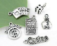 6 VIVE LAS VEGAS Charms, Antique Silver Mixed Gambling Charm Collection Set Lot