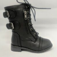 Infant Toddler Girls Black Combat Military Lace Up Boot w// Crochet #Chapter-30KA