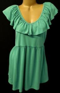 Torrid green overlay v neck spandex stretch women's plus size flutter top 4X