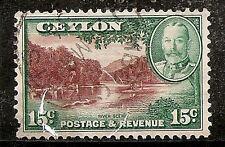 Ceylon Stamp - #269/A52 15c Green & Orange Brown Canc/LH 1935-1936