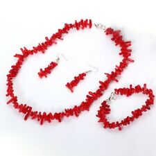 Winta (Red) Ladies handmade Coral Bead jewellery set African Statement necklace
