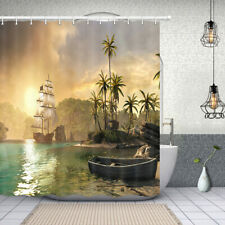 Wooden Sailing Boat Shower Curtain Bathroom Decor Fabric & 12hook 71in