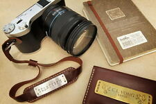 Handmade Vintage Camera Leather Wrist Strap with Custom Name Metal Stamped Plate