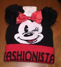 b0bb1334f04 Disney Minnie Mouse Fashionista Beanie Knit Hat PomPom Ears ONE SIZE Warm   26