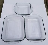 Lot Of 3 Three Anchor Hocking Clear Glass Casserole Baking Lasagna Dish