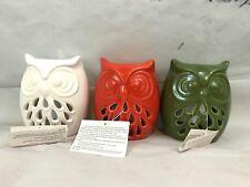 Owl Oil Warmers Orange White Green Ceramic Set Of 3 New Gift