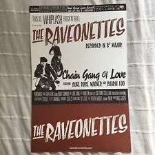 The RAVEONETTES Double sided CHAIN GANG OF LOVE Poster promo sheet Rare