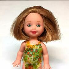 Barbie Kelly Club Doll Strawberry Blonde Short Hair Green Eyes w/ Swimsuit Nice!