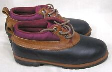 Vintage Pair Shoes Lands End Size 7 Womens Snow Shoes Burgundy Navy NICE!