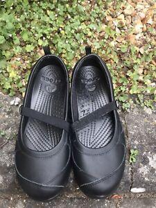 Crocs Black Flat Mary Jane Pumps Shoes UK Size 6