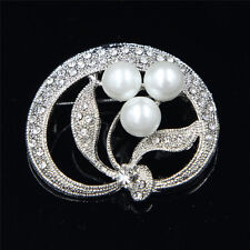 1 X Clear Glass Rhinestone Lovely White Pearl Silver Brooch Pin Party Jewelry