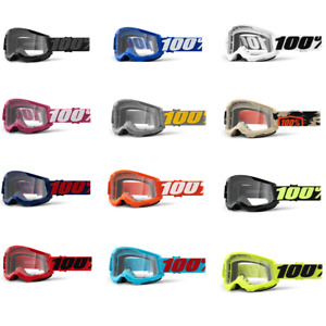2021 100% Strata 2 Clear Lens MX Motocross Offroad Goggles