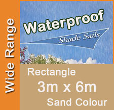 Waterproof Shade Sail Sand Colour Rectangle 3x6m, 3m x 6m, 3 by 6m, 3 x 6m 3mx6m