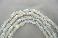 20 Czech Glass Druk Beads 10x6mm Crystal AB textured oval pressed clear AB, P201