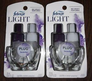 Febreze LIGHT, PLUG, LAVENDER, Scented Oil Refills for Warmers, LOT OF 2 PACKS