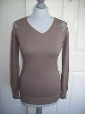 V NECKJUMPER. WITH LACE DETAILING ON SHOULDER.MOCHA COLOUR. NEW WITHOUGHT TAGS.