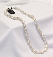 "Honora White Keshi Pearl Necklace 18"" Sterling Silver Bright Iridescent Pearls!"