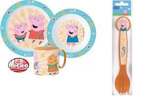 Peppa Pig Boys Girls Kids 5 Piece Plate Bowl Cup Spoon Fork Dinner Breakfast Set