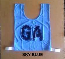 Netball Bibs - Brand New - Mock Mesh - Junior Size - Sky Blue / Black letters