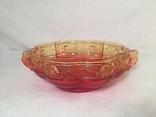 Vintage Red Carnival Glass Handled Flower Rose Embossed Candy Dish Bowl