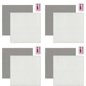 Set Of 4 Reversible FAUX LEATHER Placemats & Coasters Mats SQUARE GREY WHITE