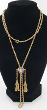 14K Yellow Gold Rope Chain, With Tassel Accents And A Blue Enamel Slider