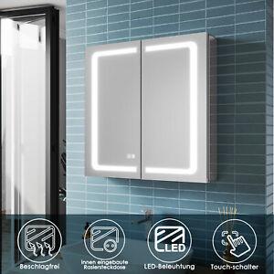 Spiegelschrank Bad mit LED Beleuchtung Badspiegel Steckdose Beschlagfrei 65 Alu