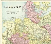 1895 Antique Map of GERMANY George Cram Germany Map Gallery Wall Art 7573